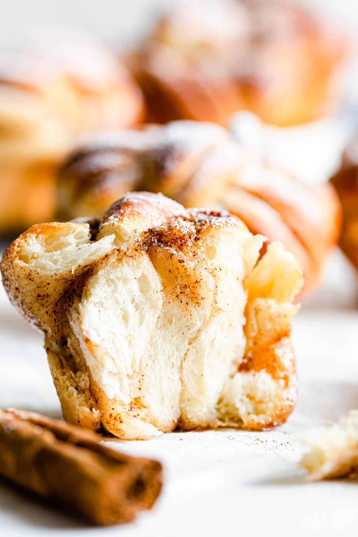 straight-ahead super close up revealing the fluffy texture inside the cinnamon bun