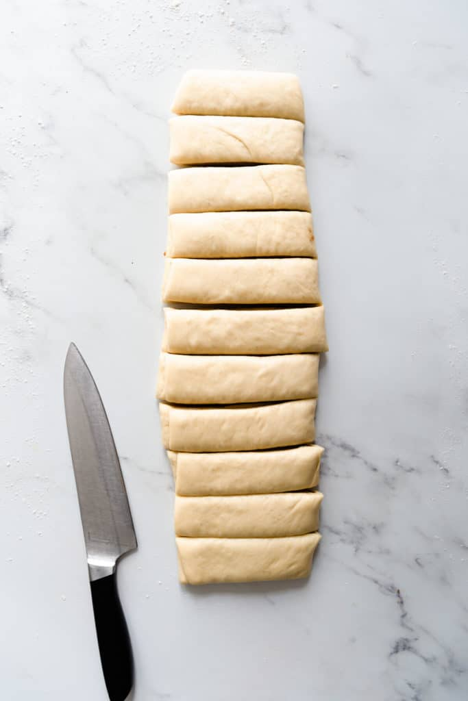 overhead shot of a soft dough divided into slices