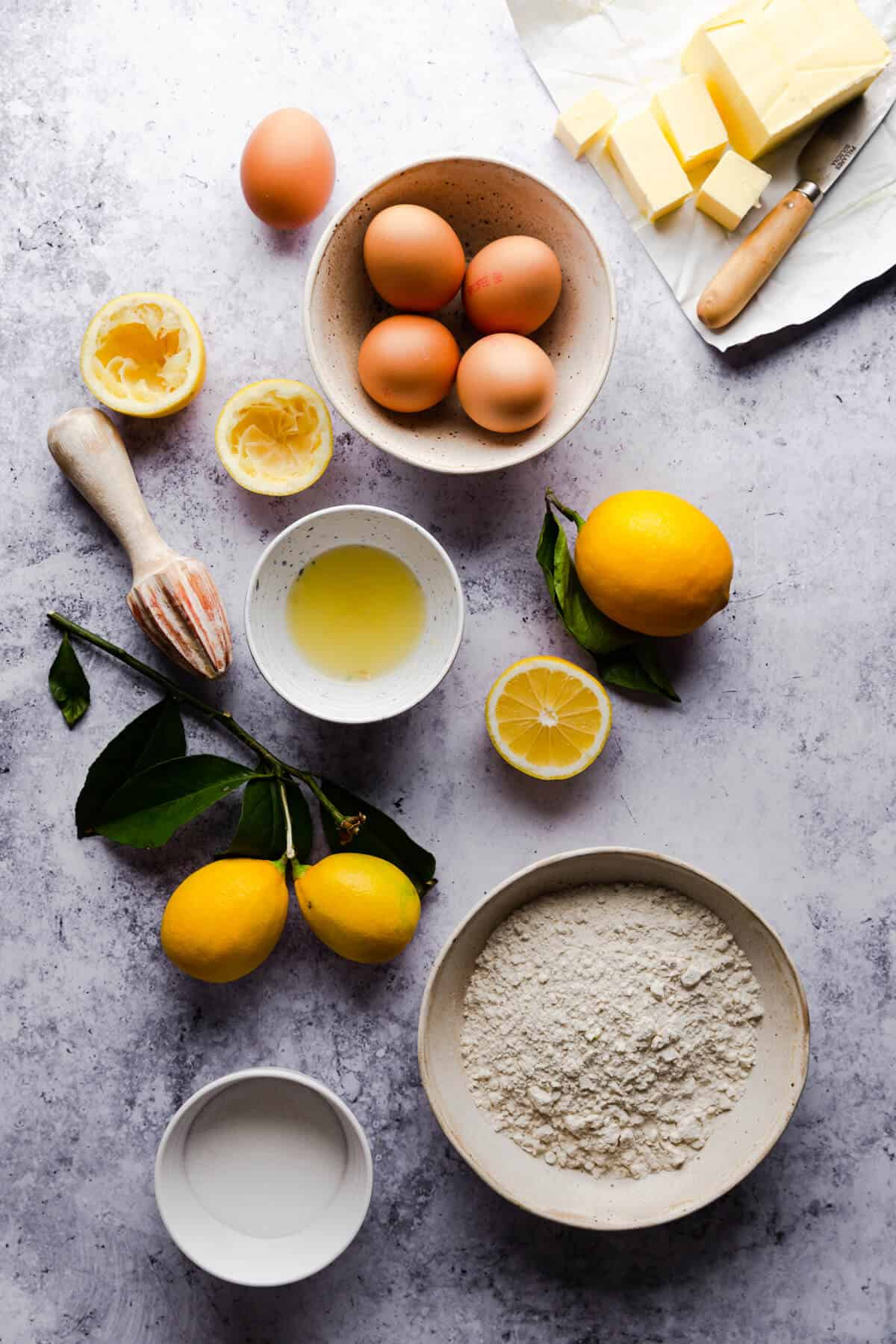 overhead shot of the ingredients for lemon curd clices