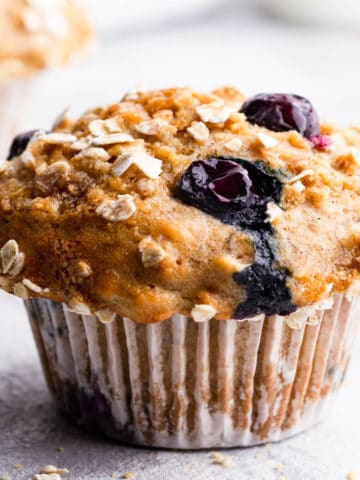 super close up of banana and blueberry muffin
