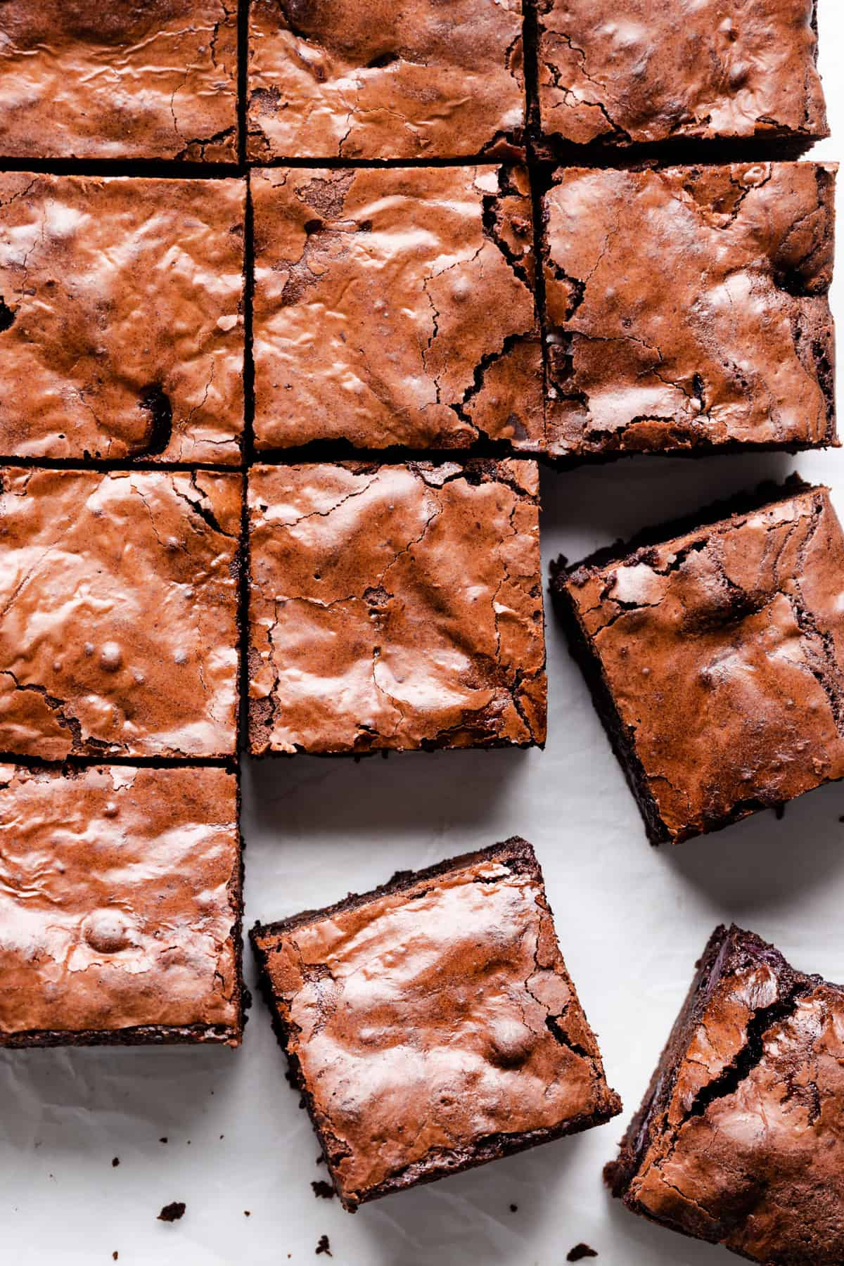 overhead close up of square brownie slices