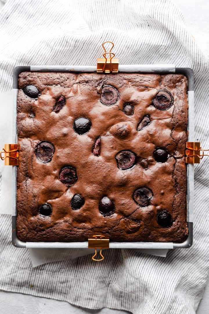 top view of brownie in the baking tin