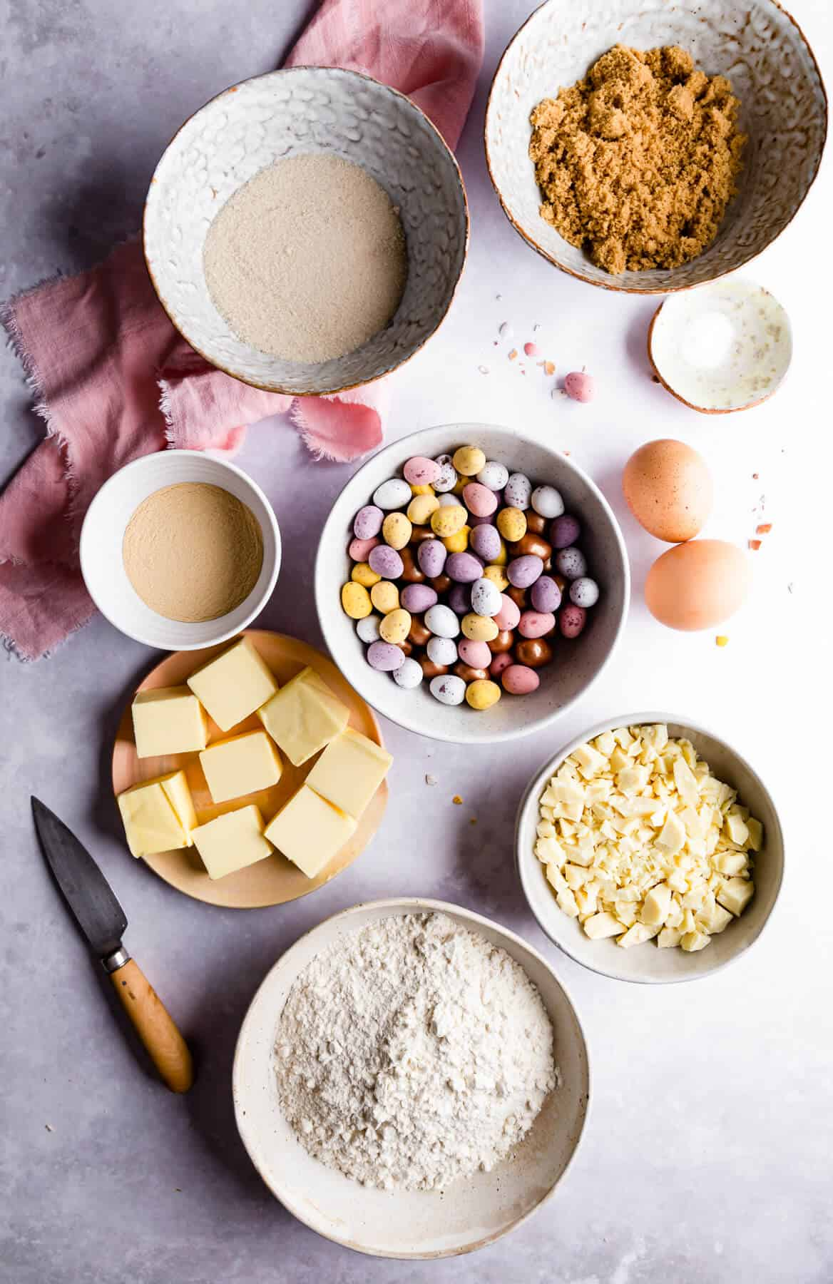 overhead shot of bowls with ingredients for mini egg Easter blondies