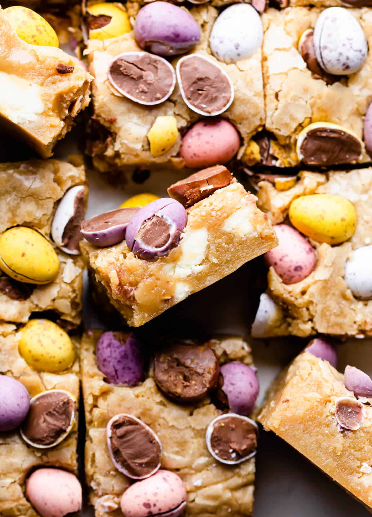 top view close up photo of blondie topped with mini eggs
