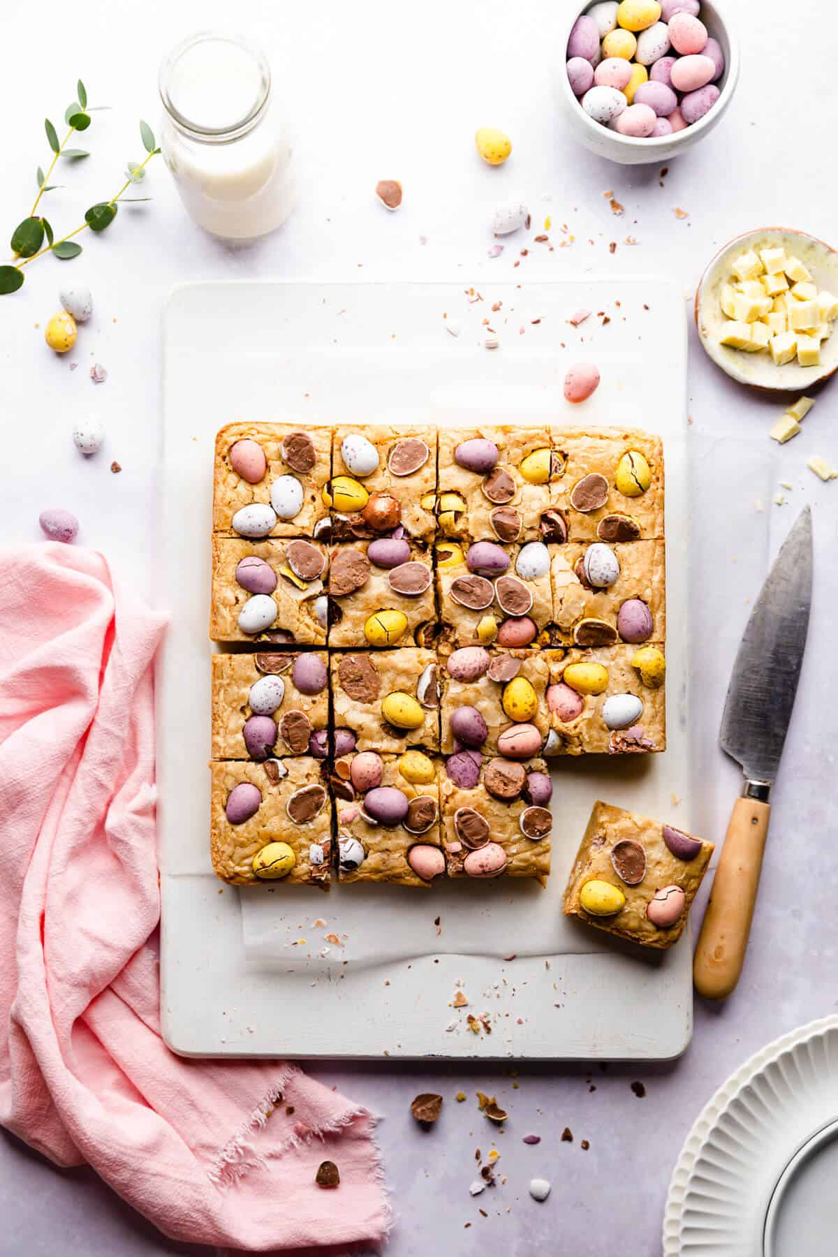 top view of mini egg Easter blondies cut into 16 squares