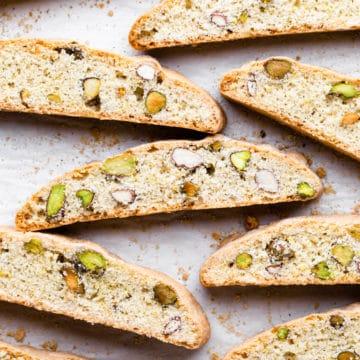overhead shot of slices of lemon pistachio biscotti