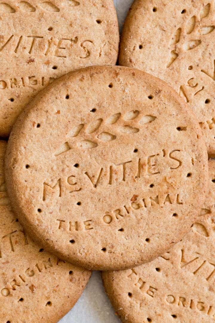 top down close up of digestive biscuits