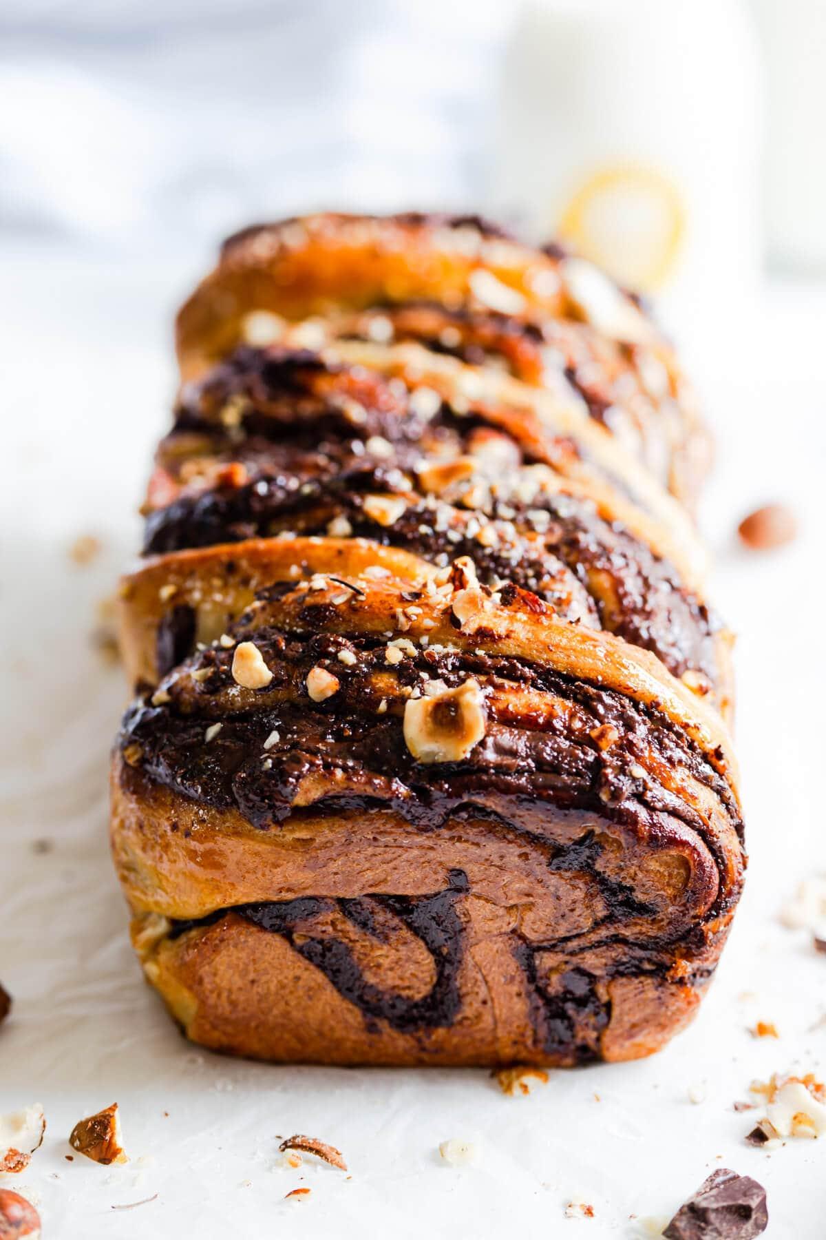 45 degree angle view of baked chocolate hazelnut babka