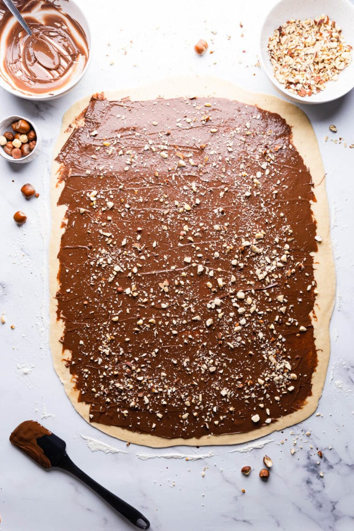 overhead view of a babka dough topped with nutella and hazelnuts