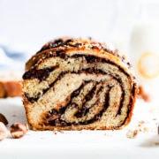 straight ahead view of the nutella babka revealing it's chocolate swirls inside