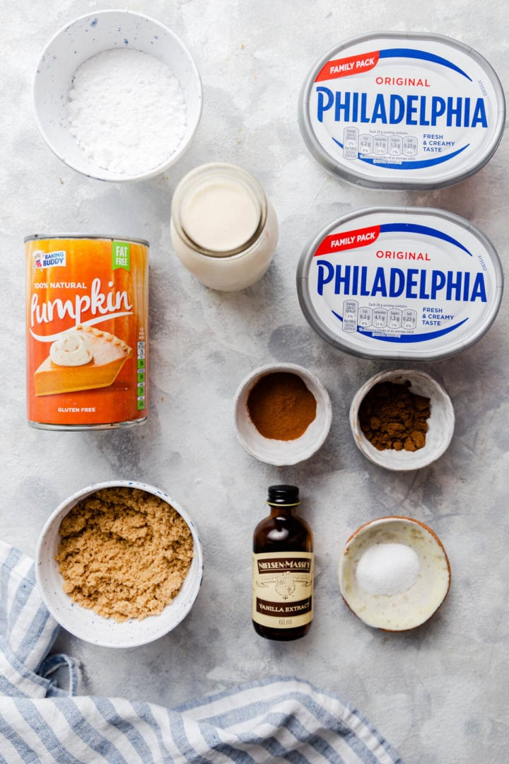 overhead shot of the ingredients for pumpkin cheesecake