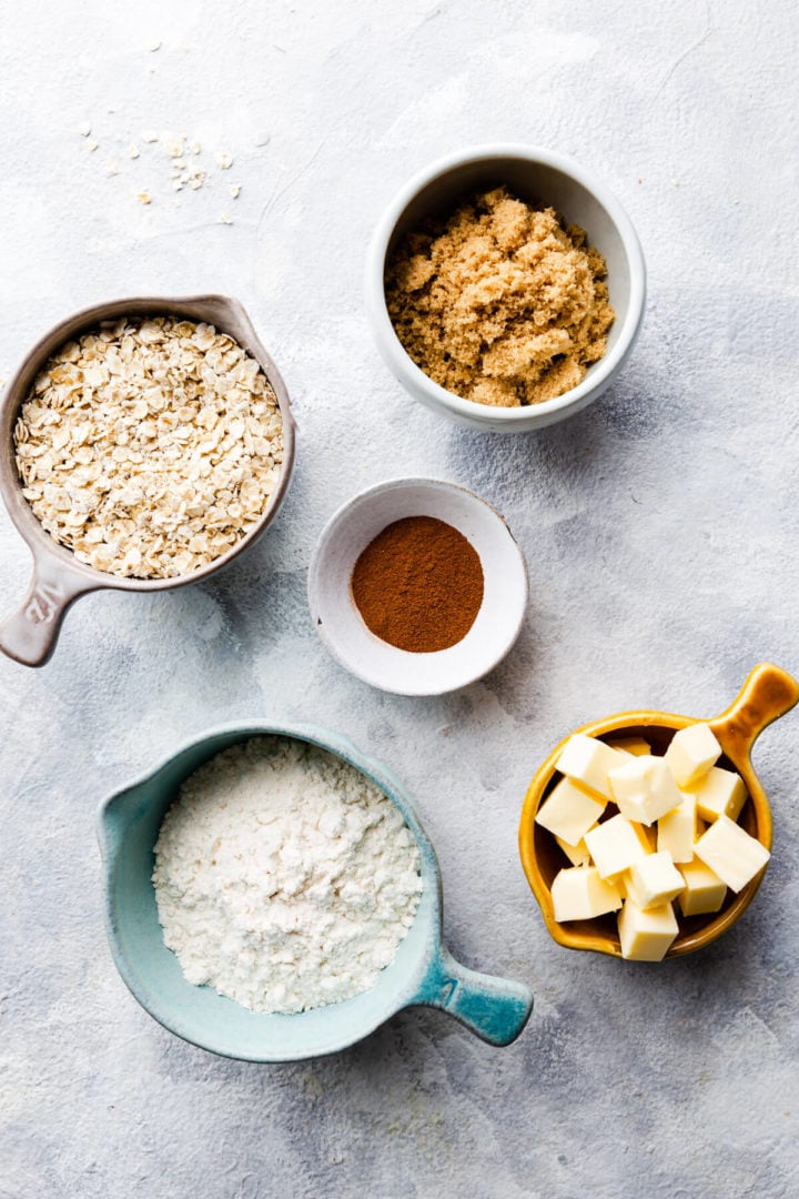 overhead shot of the ingredients for crumble topping