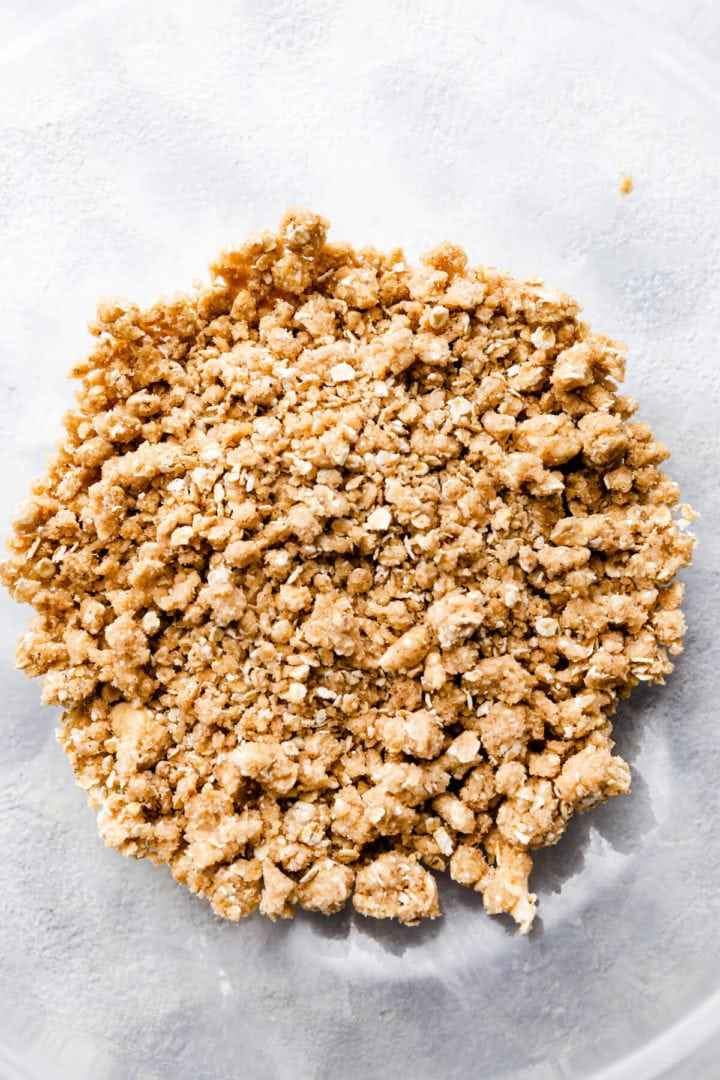 top view of the crumble topping mixture