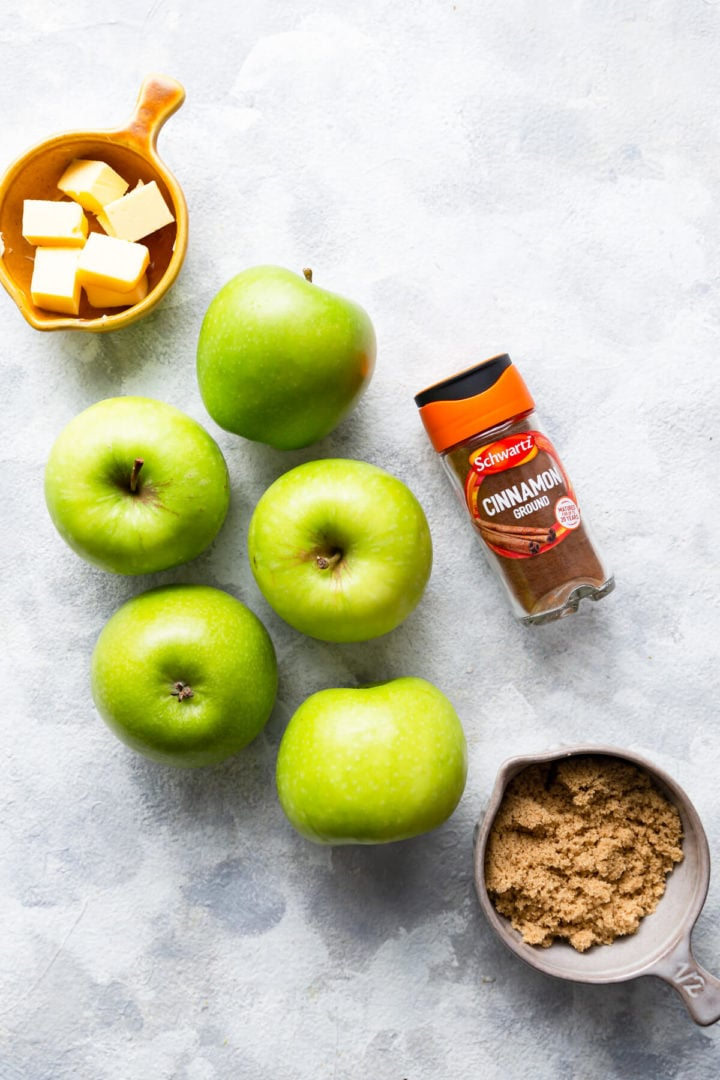 overhead shot of the ingredients for apple filling