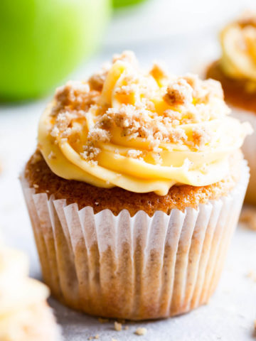 straight ahead super close up at a single apple crumble cupcake