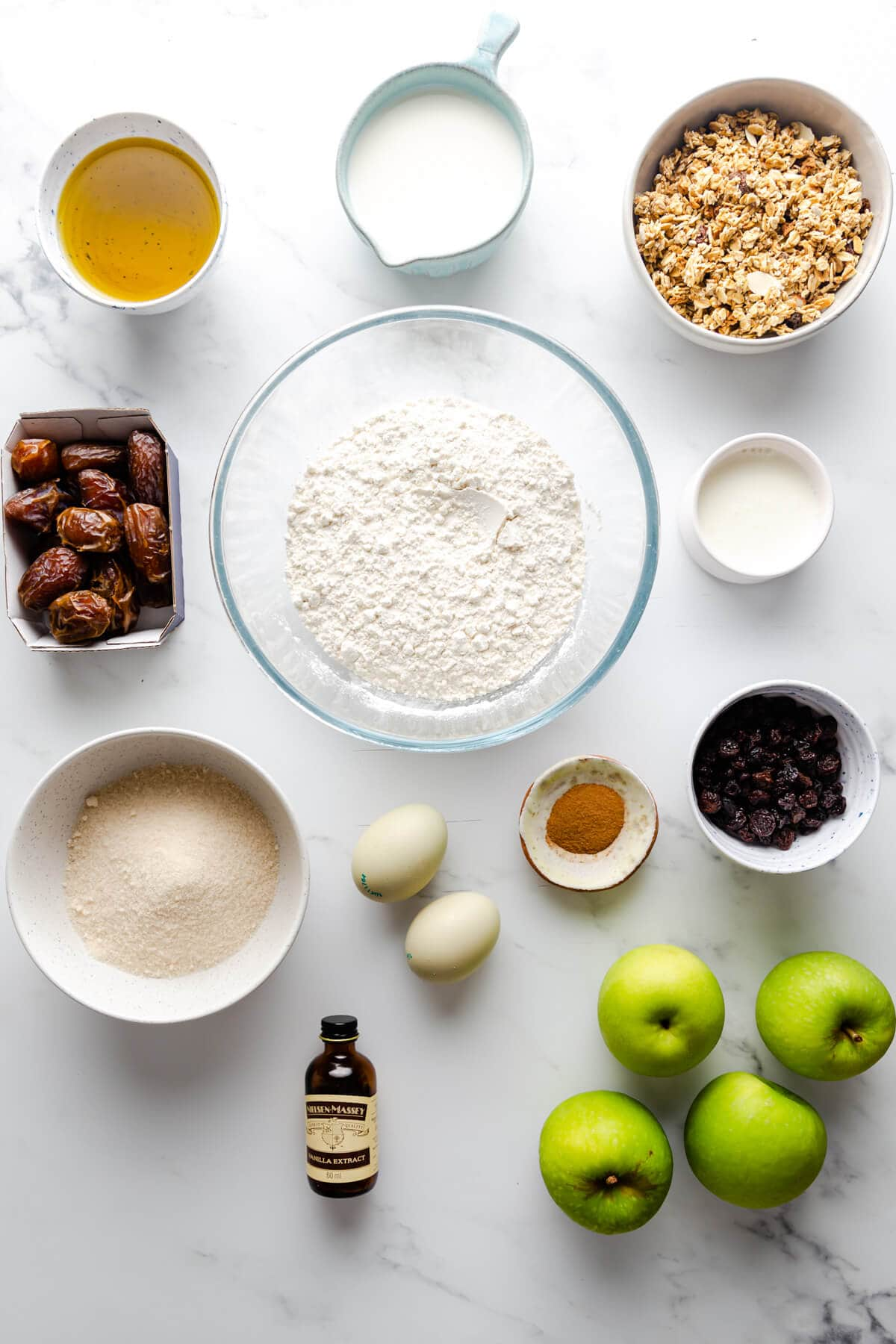 overhead view of the ingredients for apple and granola muffins