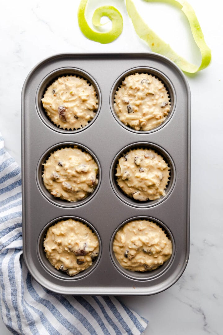 overhead shot of muffin tin filled with batter