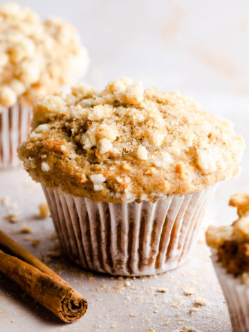 straight ahead super close up of a cinnamon oatmeal muffin