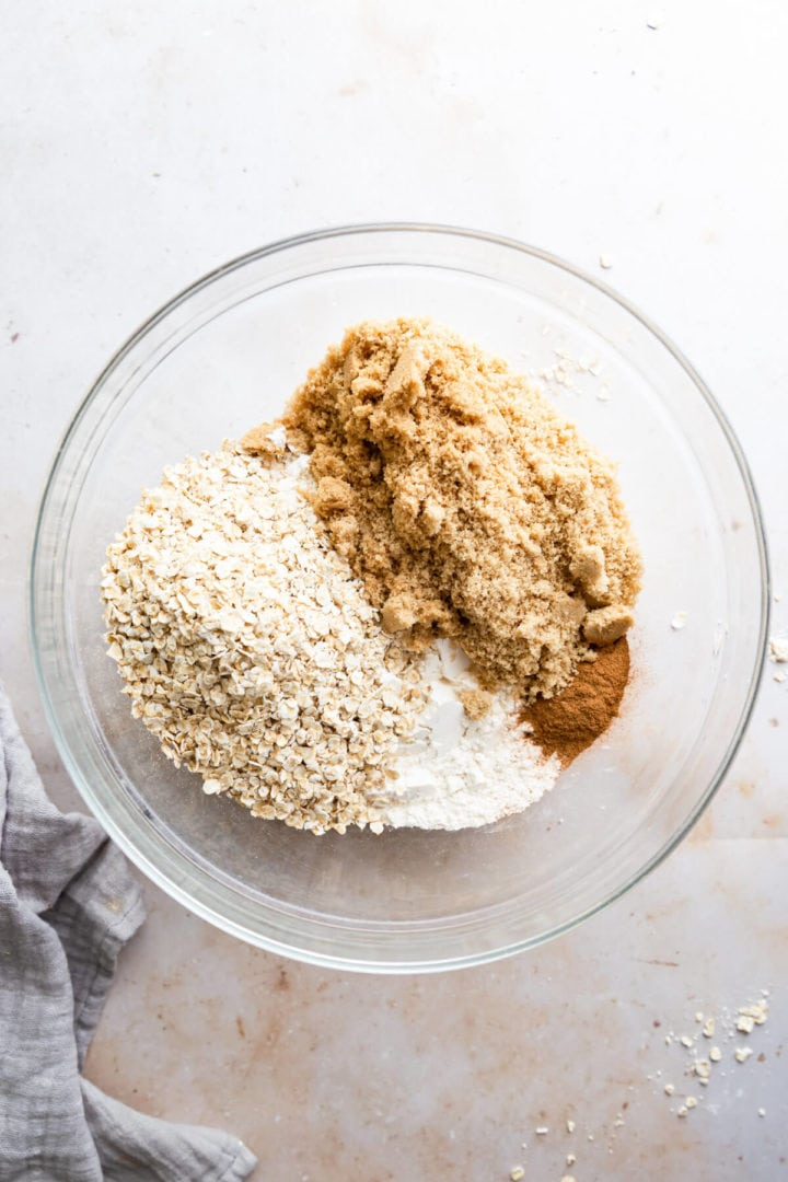 overhead view of dry ingredients in a large mixing bowl