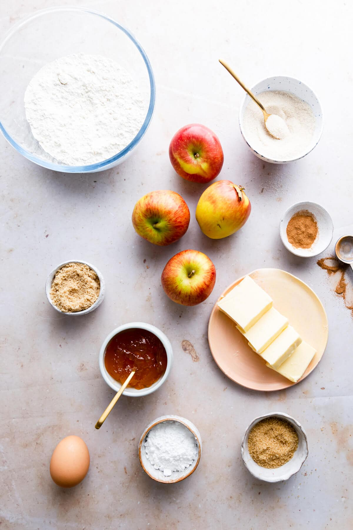 overhead view of the ingredients for an easy apple cake