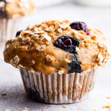 straight ahead super close up at a blueberry muffin