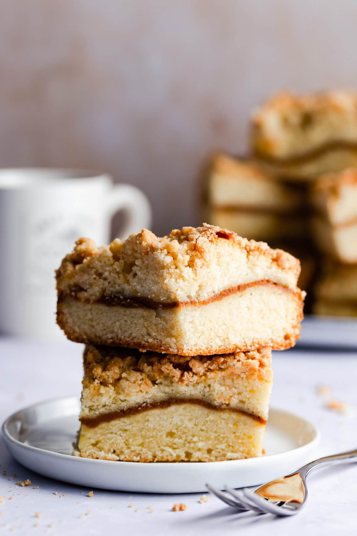 straight ahead close up of two slices of pumpkin sour cream coffee cake