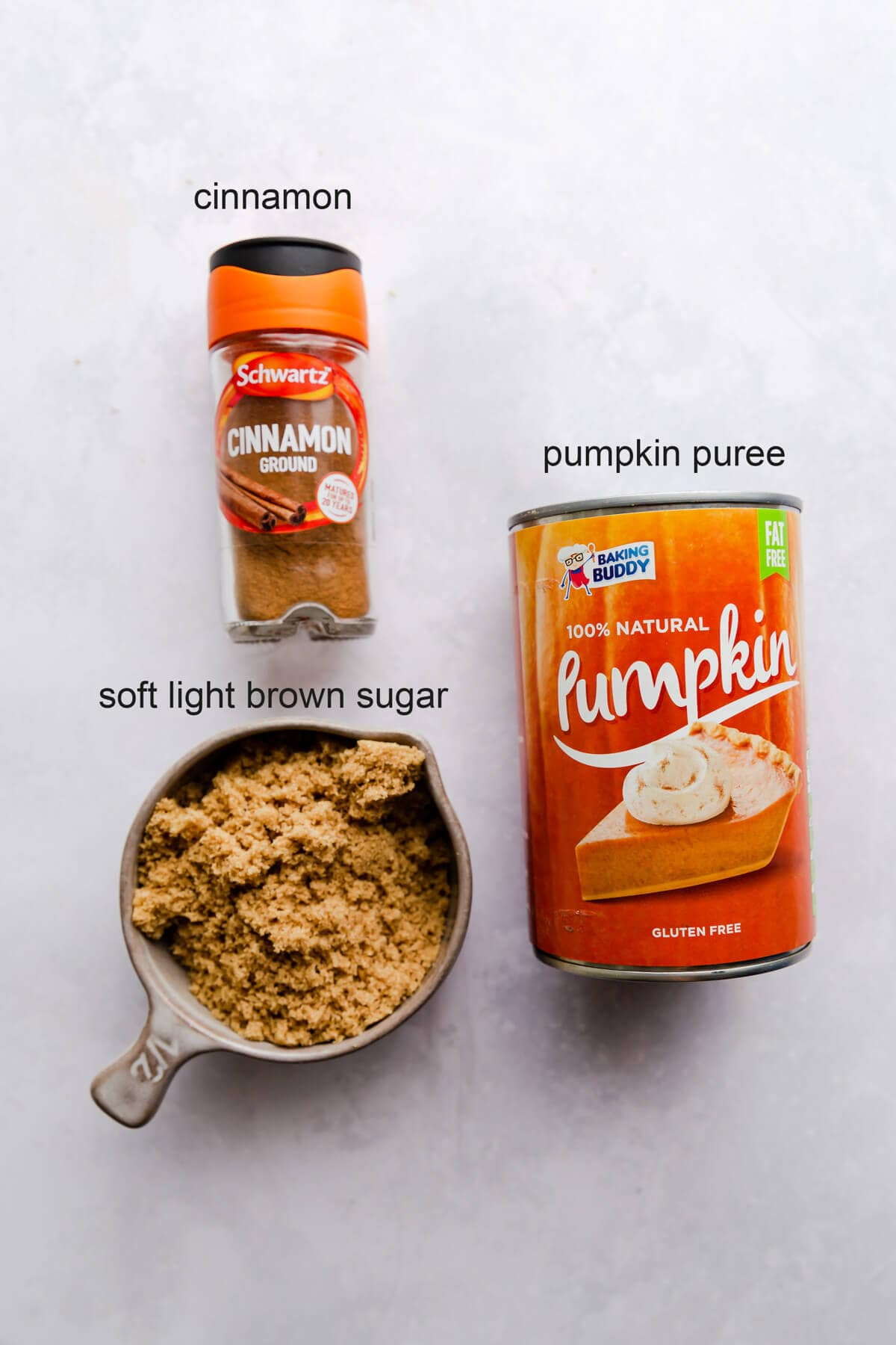 overhead view of the ingredients for the pumpkin filling