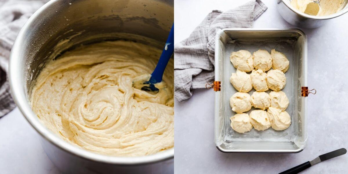 images of cake batter in a bowl and inside of the baking tin