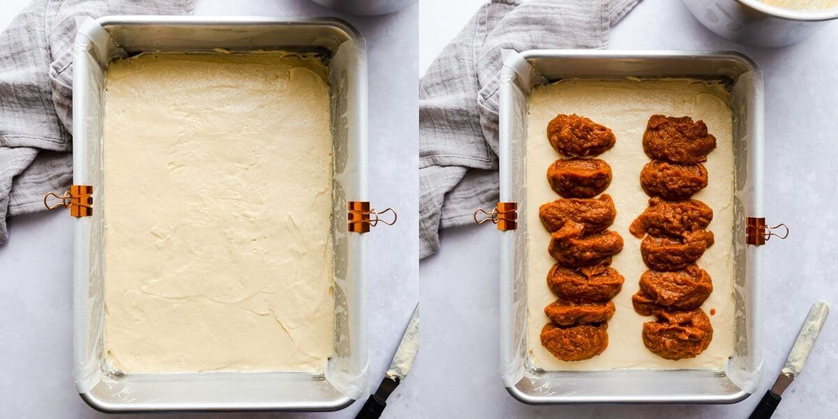 overhead images showing baking tin with cake batter and topped with pumpkin puree