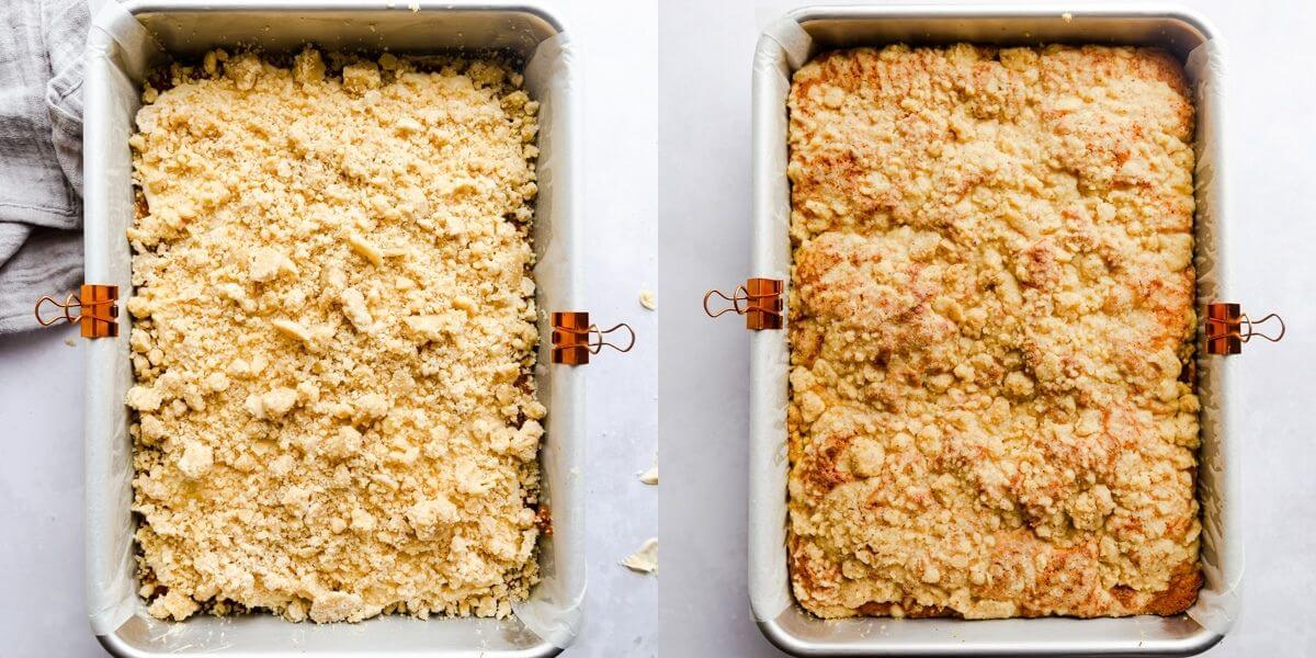 side by side images of pumpkin coffee cake topped with streusel before and after baking