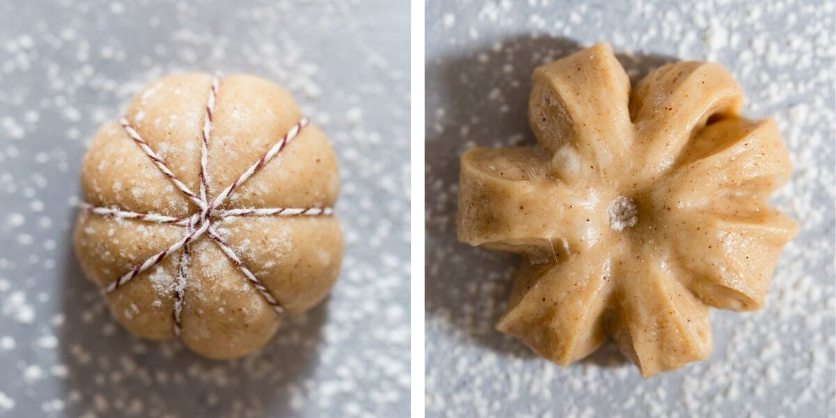top view photos of different shapes of dough for doughnuts