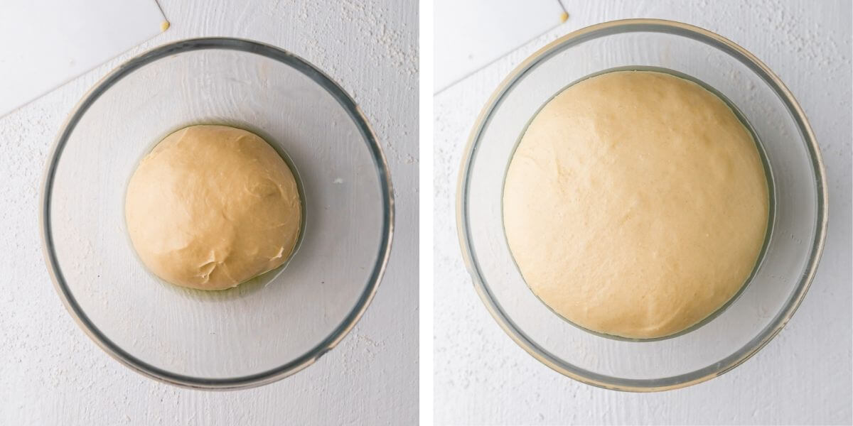 overhead photos showing a bowl with dough before and after proving